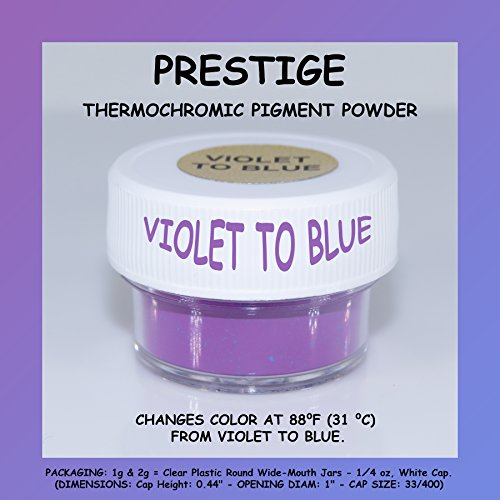 PRESTIGE THERMOCHROMIC PIGMENT THAT CHANGES COLOR AT 88F (31 C) FROM COLORED TO TRANSPARENT (Colored Below The Temperature, Transparent Above) Perfect For Color Changing Slime! (1g, VIOLET TO BLUE)