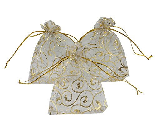 Craft Cup Candy - Ankirol 100pcs Sheer Organza Bag Eyelash Print Wedding Favor Bags 3.5x4.5'' Luxury Jewelry Candy Gift Card Bags with Gold Line Drawstring Pouches (White)