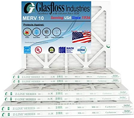 Glasfloss Industries ZLP12121 Z-Line Series ZL MERV 10 Pleated Filter Case of 12