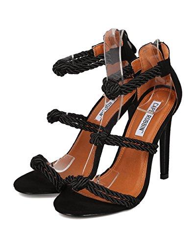 Cape Robbin Donna Annodato Corda Sandalo Stiletto - Matrimonio, Formale, Elegante, Prom - Tacco A Spillo Cinturino Alla Caviglia - Hk93 By Black Faux Suede