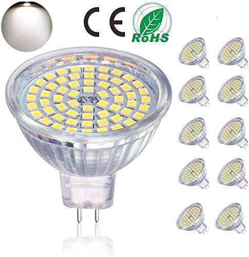 Bombillas LED GU5.3, bombillas LED MR16 5W equivalentes a bombillas halógenas de 50W 12V, 400LM, luz diurna 4000K, no regulable, bombillas de ...