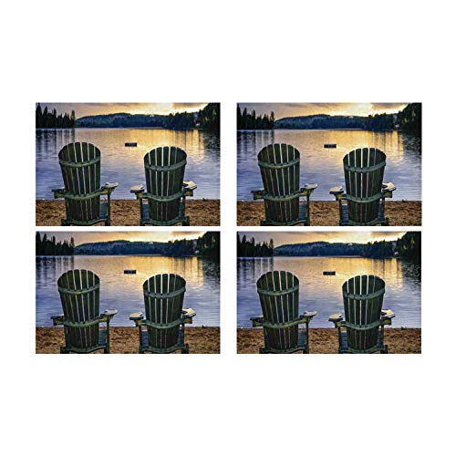 C COABALLA Seaside Decor Utility Placemat,Two Wooden Chairs on Relaxing Lakeside at Sunset Algonquin Provincial Park Canada for Home,Four Pieces 12