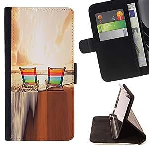 For Samsung Galaxy S6 Active G890A Case , Puesta de sol Bronceado Diversión Relajación- la tarjeta de Crédito Slots PU Funda de cuero Monedero caso cubierta de piel
