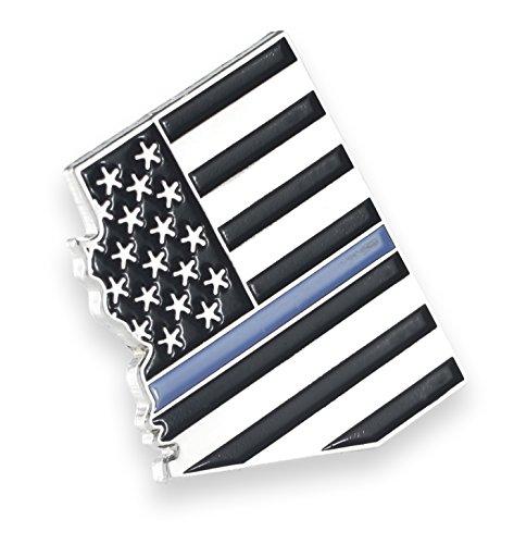 Arizona Blue Lives Matter State Shape Blue Line Lapel Pin (1 pin) (Arizona Lapel Pin)