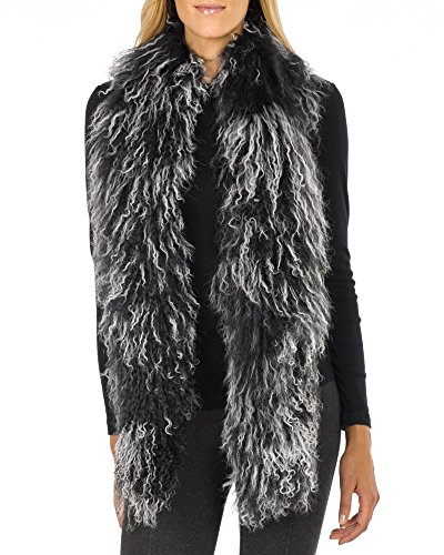 Mongolian Lamb Fur Scarf - Black & White