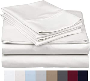 The Bishop Cotton 100% Egyptian Cotton 800 Thread Count 4 PC Solid Pattern Bed Sheet Set Italian Finish True Luxury Hotel Collection Fits Up to 16 Inches Deep Pocket (Cal-King, White).