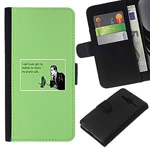 KingStore / Leather Etui en cuir / Samsung Galaxy Core Prime / Madre Tecnología Relaciones Cita