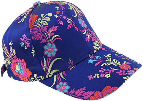 Capelli New York Ladies Multi Floral Baseball Hat With Buckle Closure Blue Combo One ()