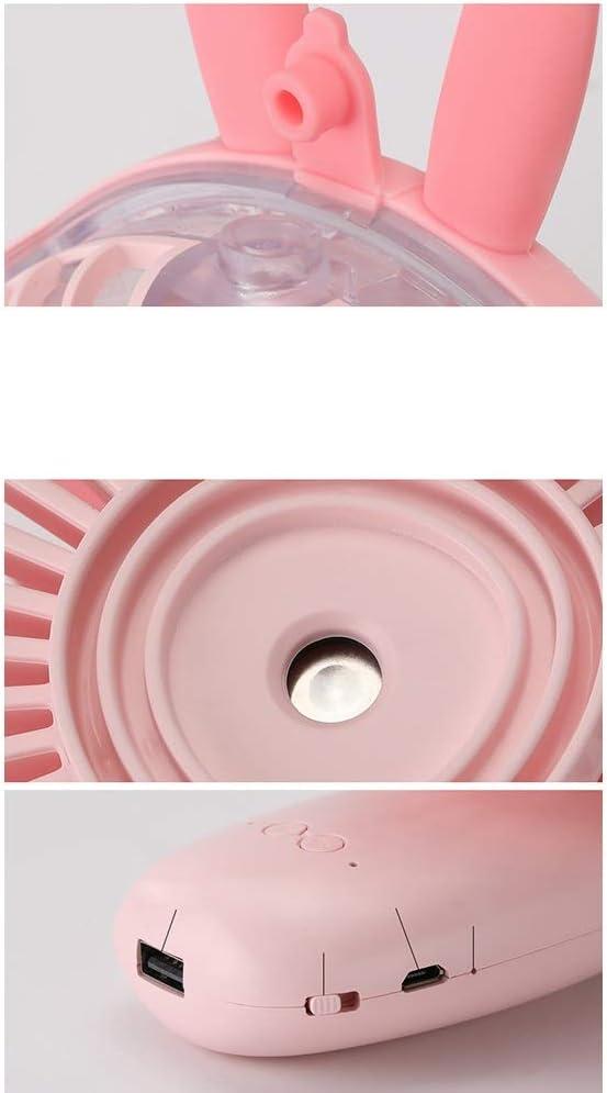 Mini Portable Cooling Fan Handheld USB Fan Charging Cartoon Cute Portable Pet Fan 3 Gear Wind Five-Leaf Personal Fun Color : Pink