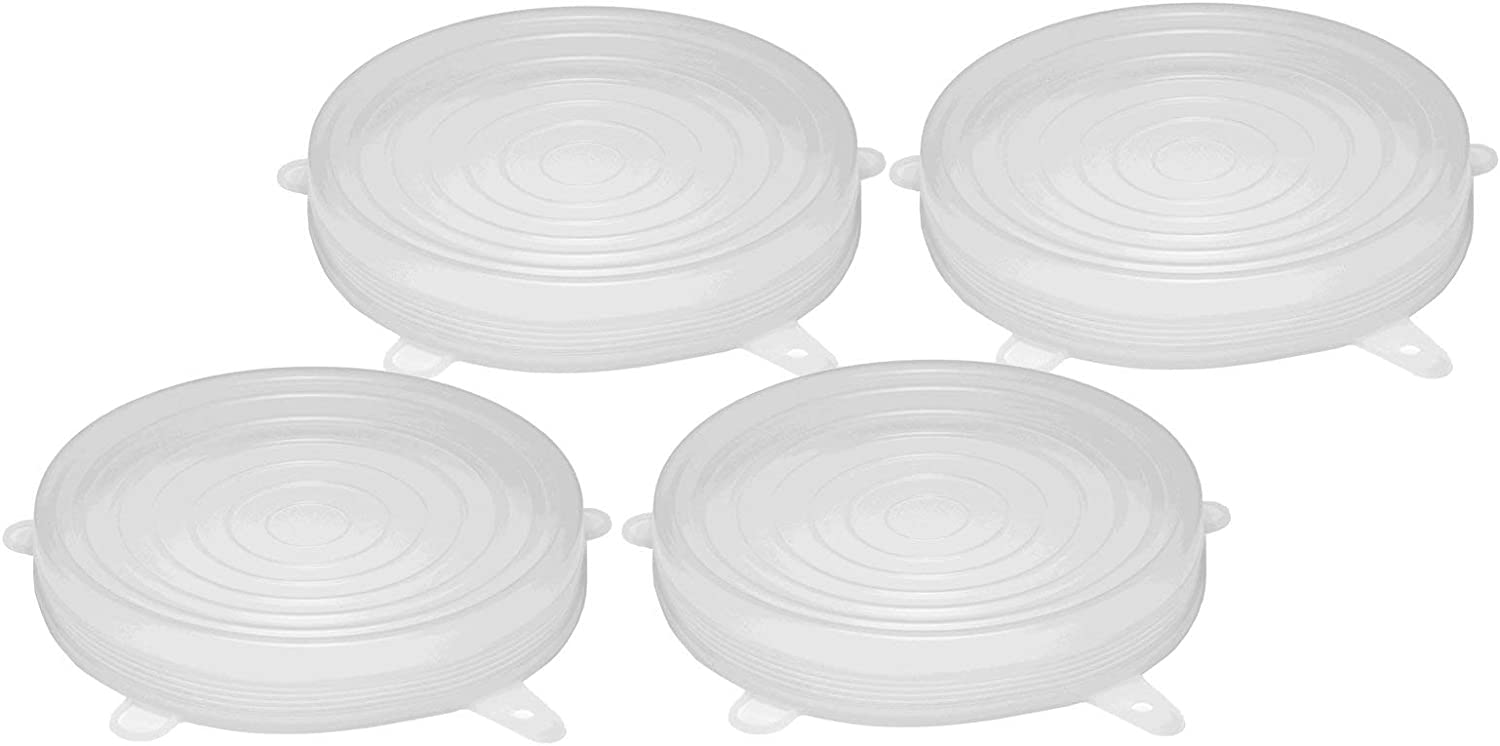 Silicone Stretch Lids 7.5 Inches Diameter Single Size 4-Pack for Keeping Food Fresh, Stretches to 9 Inches to Cover Bowls, Cans, Jars, Glassware, Food Savers, Reusable, Safe for Use in Dishwasher