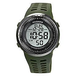 Sport Watch for Men and Women, Multifunctional Wrist Clock, Dual Time Digital Display, 3ATM Waterproof, EL Backlight,12 Group Stopwatch, Countdown Timer, 3 Alarms, Power Saving Function (Green)
