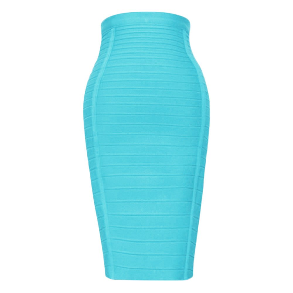 HLBandage Women's High Waist Elastic Rayon Bandage Pencil Skirt(L,Blue Sky)