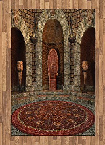 Ambesonne Gothic Area Rug, Throne of King in Vintage Style Palace Chandelier Medieval Architecture Theme, Flat Woven Accent Rug for Living Room Bedroom Dining Room, 4 X 5.7 FT, Burgundy Grey