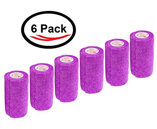 Cohesive Bandage Self Adherent Wrap FDA Approved Self Adhesive Elastic Tape Rolls Medical First Aid Supplies, 4 inch x 5 Yards, 6, 12, 18, or 24 Pack, Assorted Colors and Patterns ()