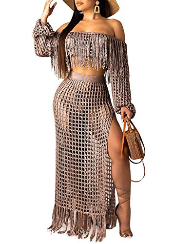 - Women Sexy Tassels Hollow Out 2 Piece Outfits See Through Off Shoulder Crop Top and Split Maxi Dress Set Swimwear Bikini Cover up (Coffee, L)