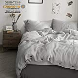 Simple&Opulence 100% Washed Linen Coconut Wood Deduction Solid Grey Bedding Set with 1 Duvet Cover 2 Pillowcases (King, Light Grey)