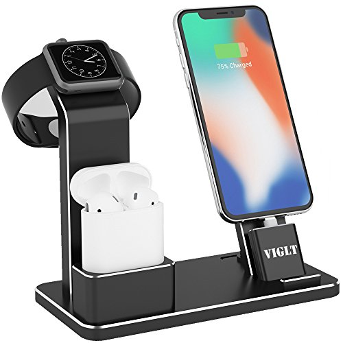 VIGLT Aluminum 3 in 1 Charging Stand Compatible with Apple Watch Series 3/2/1,AirPods 1/2 and iPhone X 8/8 Plus 7/7Plus 6/6S Plus iPad