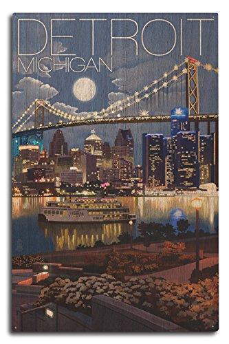 Lantern Press Detroit, Michigan - Skyline at Night (10x15 Wood Wall Sign, Wall Decor Ready to Hang)