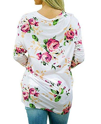 Femme Blouses Rond Tunique Tops Haut Imprime Chemisiers Longues Col Ourlet Printemps Fashion Automne Shirts Jumper T Irrgulier Blanc Manches et XwYTqxEz