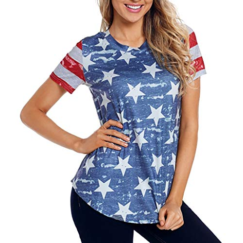 AopnHQ Women's Independence Day Short Sleeve/American Flag Stars Print T-Shirt,Casual Top Blouse for Women - Animal Print Tunic Trimmed