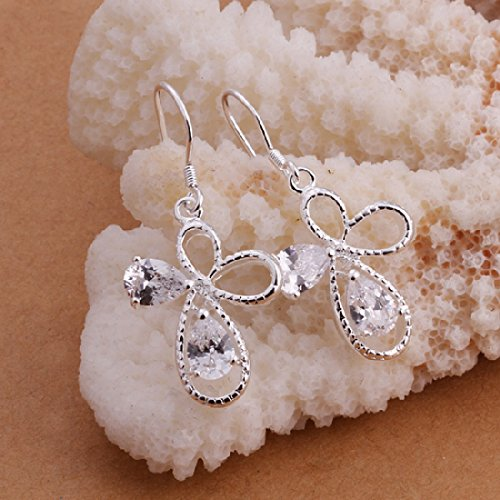 925 Silver Stud Earings Cross Flower With Zircon