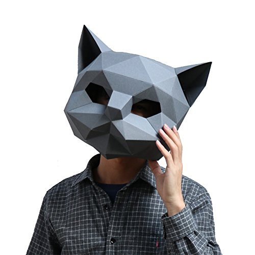 Cat Feather Mask - Homelix 3D Paper Mask Animal Head Molds DIY Halloween Party Costume Cosplay Facial Paper-Craft Kit (Black, CAT)