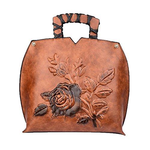 Bandoulière à Style brown Sac La De La Chine PU De En De Femme En Main Relief à National Sac De Style 1BdwwqxvF