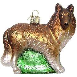 Old World Christmas Brown Collie Dog Glass Ornament #12204 Brown