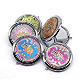 1 Pcs Thailand Elephant Style Makeup Mirror Portable Stainless Steel Double Faced Folding Round Vintage Pocket Cosmetic Mirrors(Sent by Random)