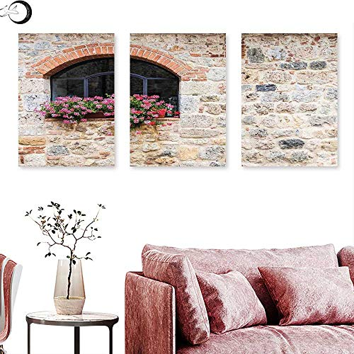 J Chief Sky Tuscan Landscape Canvas Gothic Architecture Abandoned Old Stone House Vintage Stairs in Tuscany Triptych Art Ivory Pink and Salmon Triptych Art Canvas W 24