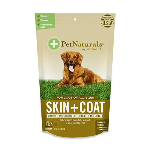 Pet Naturals of Vermont Skin + Coat for Dogs, Skin and Coat Health Supplement, 30 Bite Sized Chews