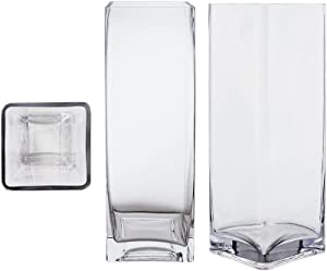 Mega Vases Square Cube 4 Inch x 12 Inch, Decorative Clear Glass Vase with Sturdy Base, Wedding Centerpieces, Flower Bouquets, Home Decor, Celebrations, Parties, Event Planning, Arts & Crafts