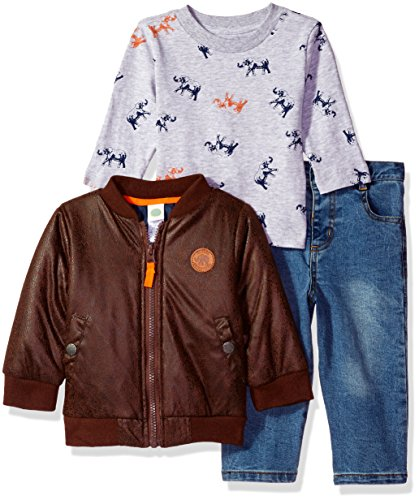 Little Me Baby Boys' 3 Piece Jacket and Pants Set, Safari, 12 Months (2 Safari Jacket)