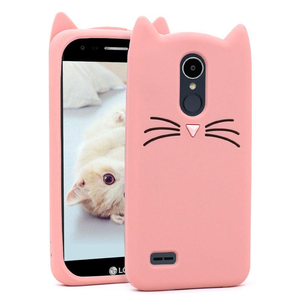 Joyleop Case for LG Tribute Dynasty/Fortune 2/Aristo 2/3 X210,Cute 3D Cartoon Animal Cover,Kids Girls Soft Silicone Kawaii Character Skin LG Zone 4,Risio 2/3,Rebel 2/3,Phoenix 3,K8 2018 Pink Cat
