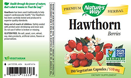 Nature's Way Hawthorn Berries, 510 mg, 180 Veg-capsules