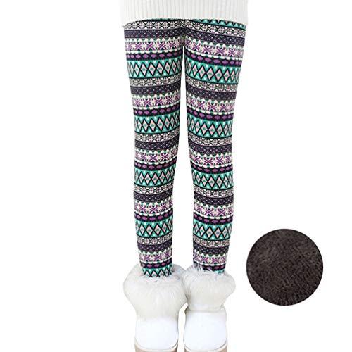 Bjinxn Girls Winter Thick Warm Long Pants Printing Fleece Lined Leggings 120 ()