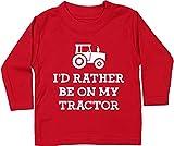 Hippowarehouse I'd Rather be on My Tractor Farmer Baby Unisex t-Shirt Long Sleeve