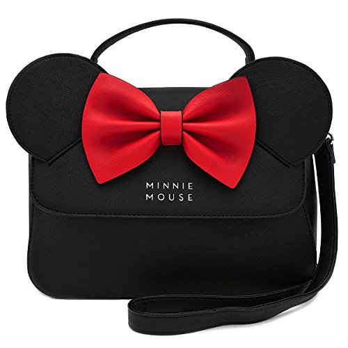 Loungefly x Disney Minnie Mouse Crossbody Bag with Ears and Bow (Disney Womens Minnie Mouse)