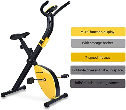 YMXLXL F-Bike, Bicicleta EstáTica con Sensores De Pulso De Mano, con/Sin Respaldo, Plegable, Unisex,Yellow: Amazon.es: Hogar