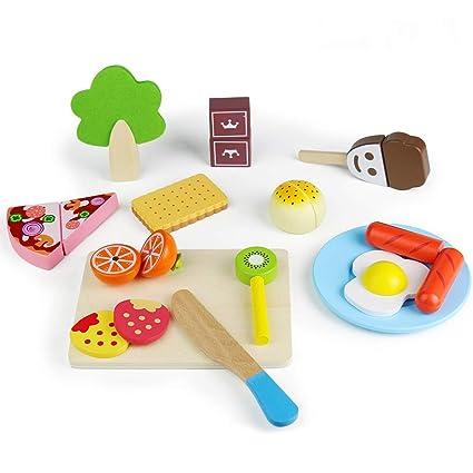 Fajiabao Frutta da Tagliare Giocattolo Giochi Cucina in Legno per Bambini  25 PCS Magnetico Cibo Giocattoli Accessori Cucina di Simulazione Gioco ...