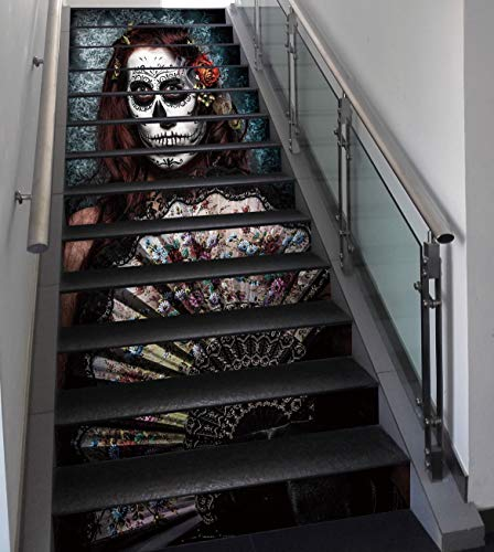 Stair Stickers Wall Stickers,13 PCS Self-Adhesive,Day of The