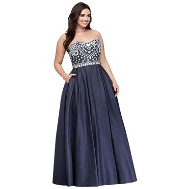 Embroidered Denim Plus Size Prom Dress Style A20398W, Denim, 18