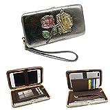 ORIREAL Women's Clutch Wallet Ladies Flat Phone Coin Purse Card Holder Wristlet(Bronze)
