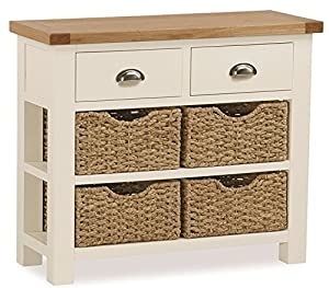 Daymer Painted Console Table With Baskets   Hall Table   Cream Painted