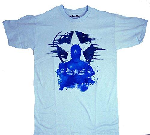 Captain America Stencil Outline T-shirt (Large, Light Blue)