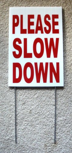 VINBOX PLEASE SLOW DOWN Coroplast SIGN with stake 8x12 Children Safety Sign Red from VINBOX