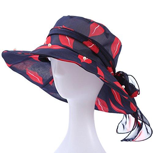 Deep purple Women's Adjustable Beach Floppy Sun Hat