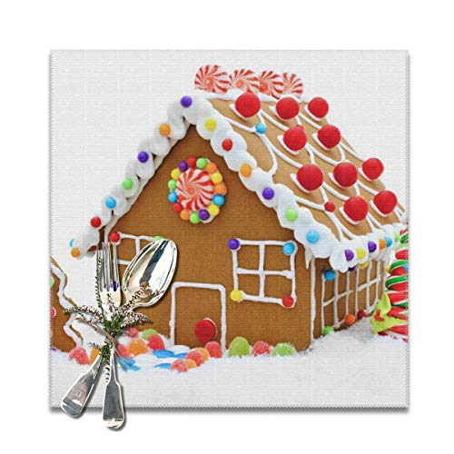 (RobotDayUpUP Christmas Clipart Gingerbread House Placemats Table Mats 12x12 Inches Set of 6 Kitchen Dining)