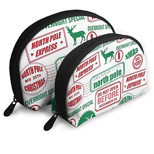 (JDISJLJ Makeup Bag for Women,Portable Shell Makeup Storage Bag - Reindeer Wrapping Paper Travel Organizer Case Makeup)