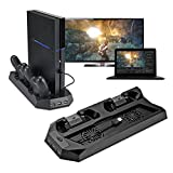 Funnytoday365 Design Mutilfunction Cooling Fan Cooler Vertical Stand For Ps4 /Playstation 4 Console Cooler With Charging Station